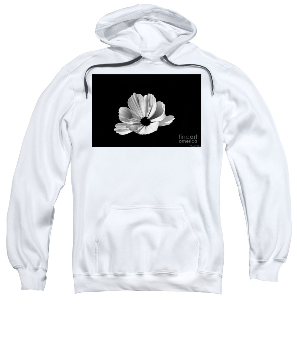 Flower Sweatshirt featuring the photograph Cosmo Black And White by Donna Brown