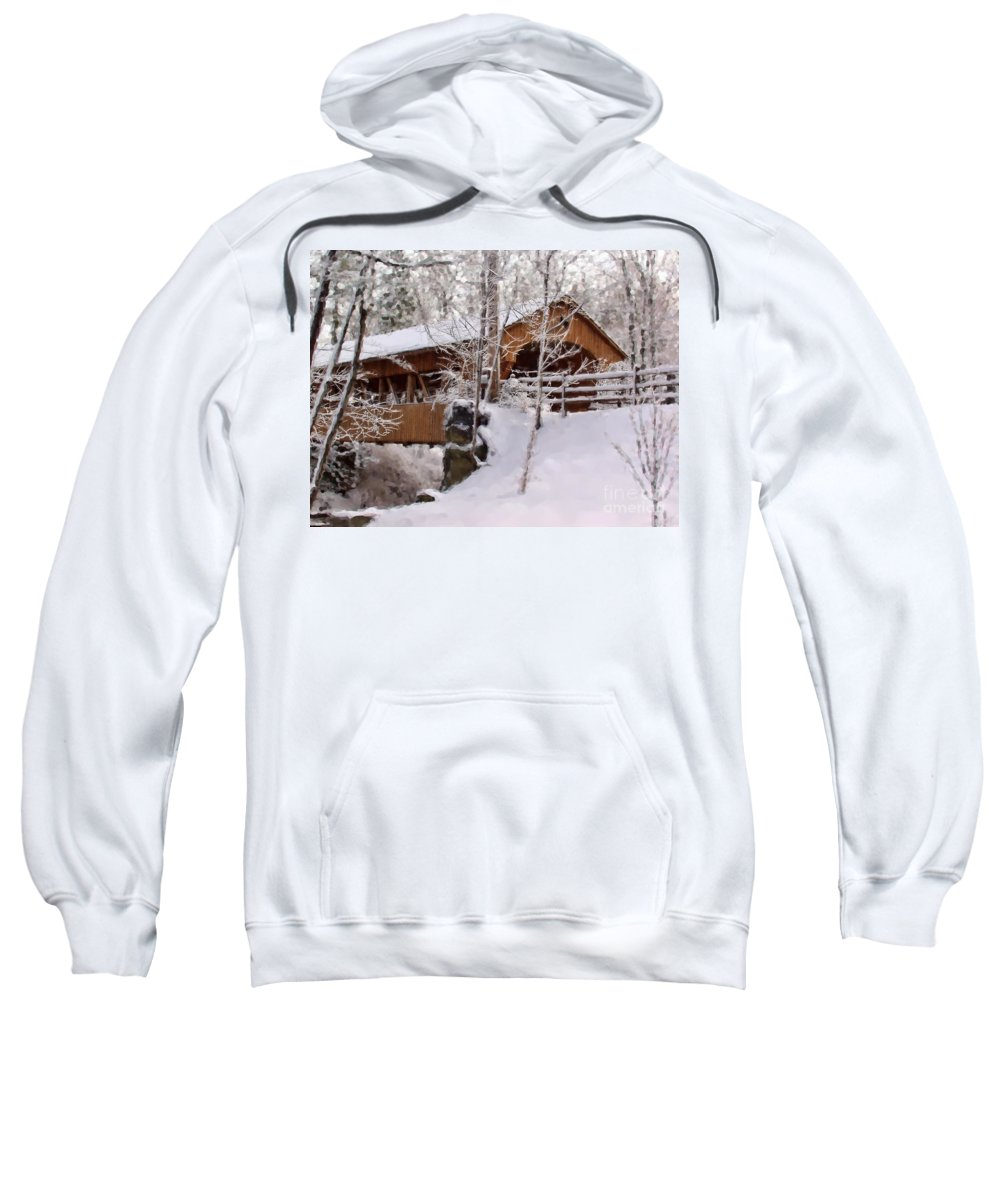 Covered Bridge Sweatshirt featuring the photograph Covered Bridge At Olmsted Falls - 2 by Mark Madere