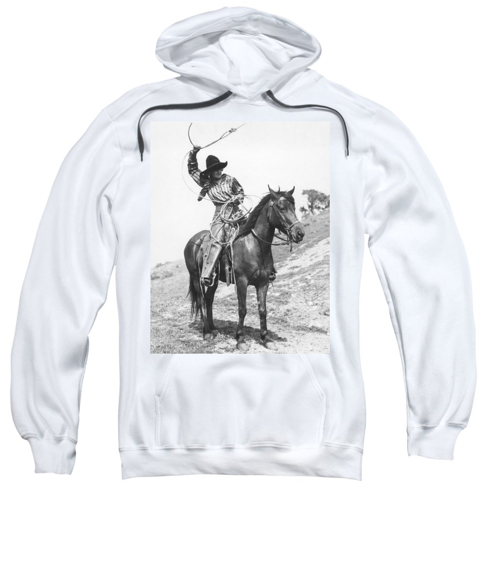 1920 Sweatshirt featuring the photograph Cowgirl, C1920 by Granger