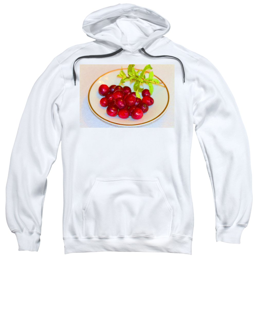 Cranberries Sweatshirt featuring the photograph Cranberries And Mint by Kathy Clark