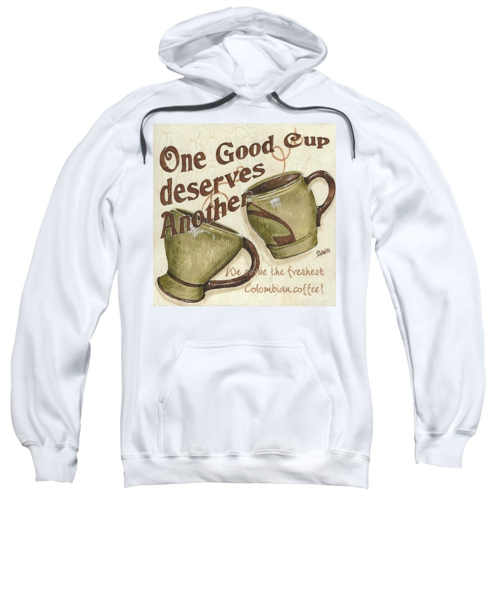 Coffee Sweatshirt featuring the painting Cream Coffee 2 by Debbie DeWitt