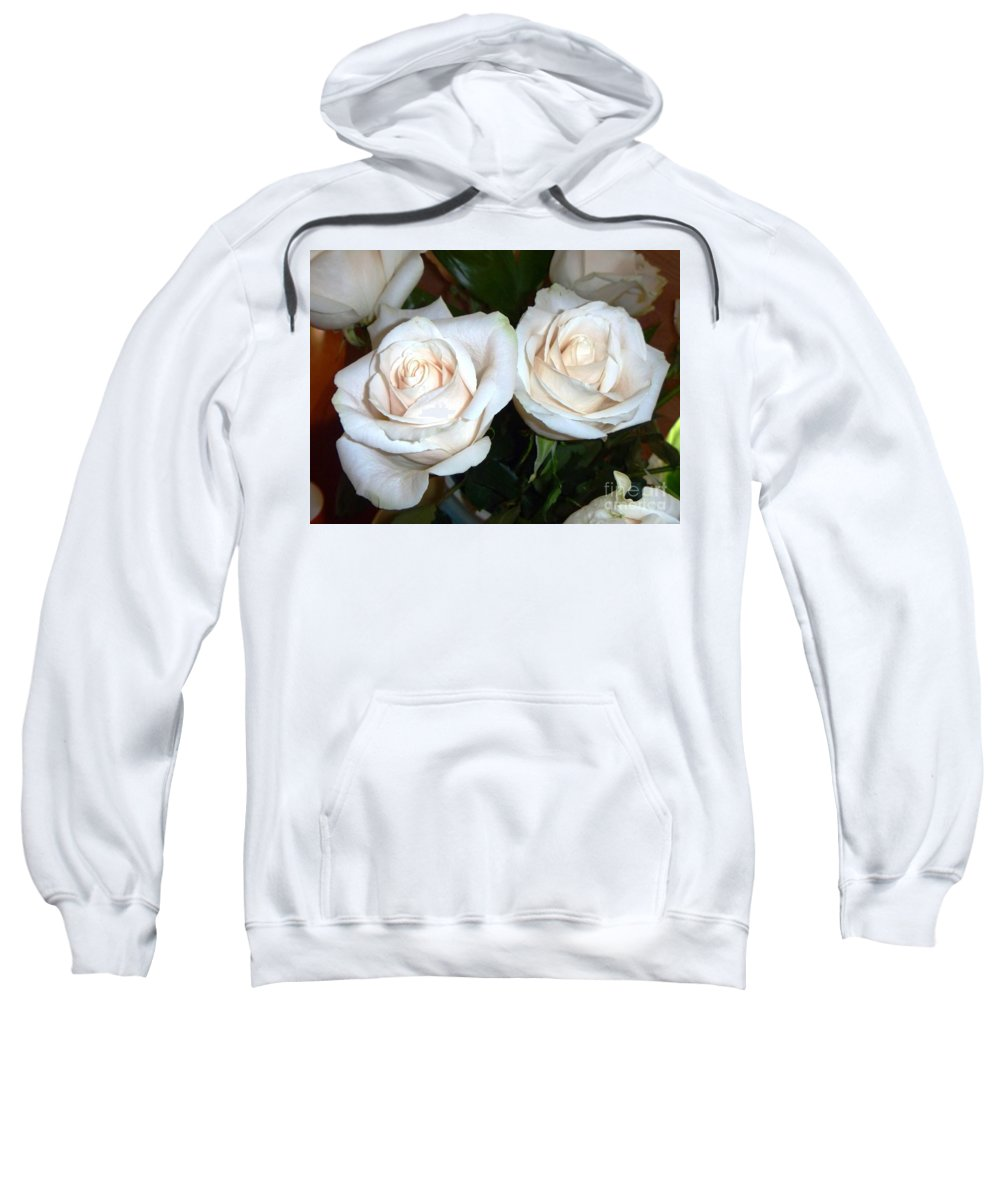 Creamy Sweatshirt featuring the photograph Creamy Roses I by Alys Caviness-Gober