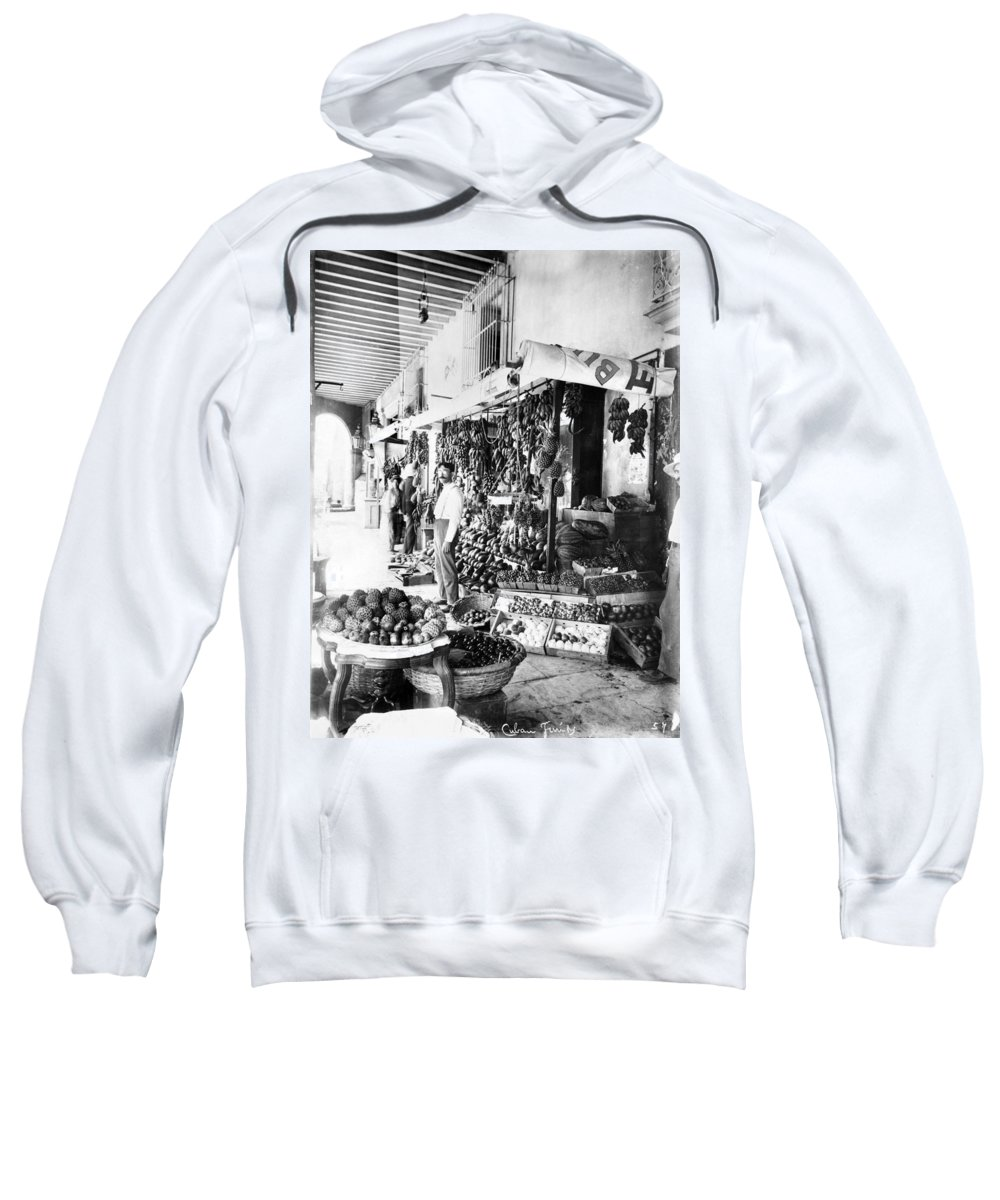 1910 Sweatshirt featuring the photograph Cuba Fruit Vendor C1910 by Granger