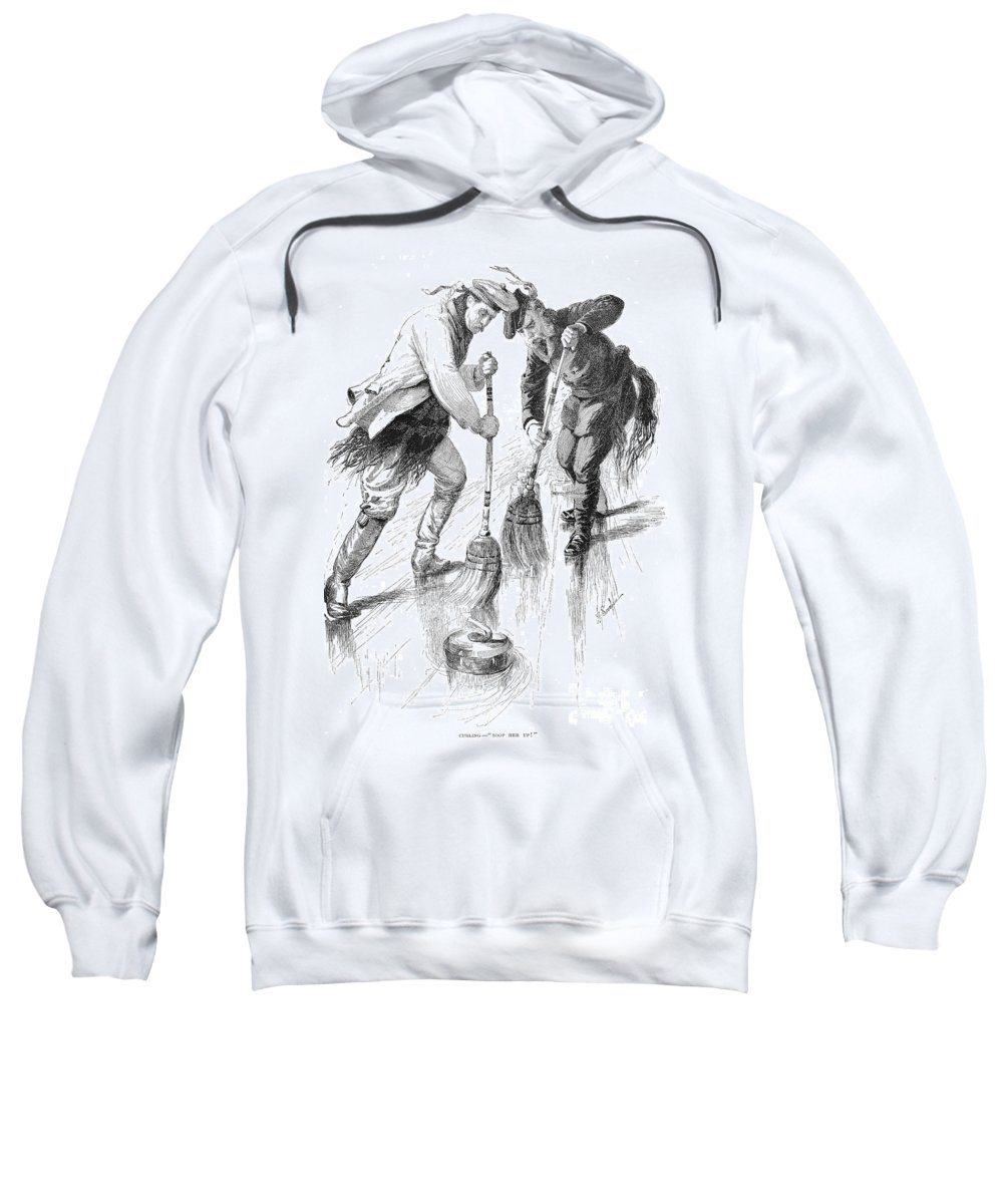 1885 Sweatshirt featuring the photograph Curling Players, 1885 by Granger