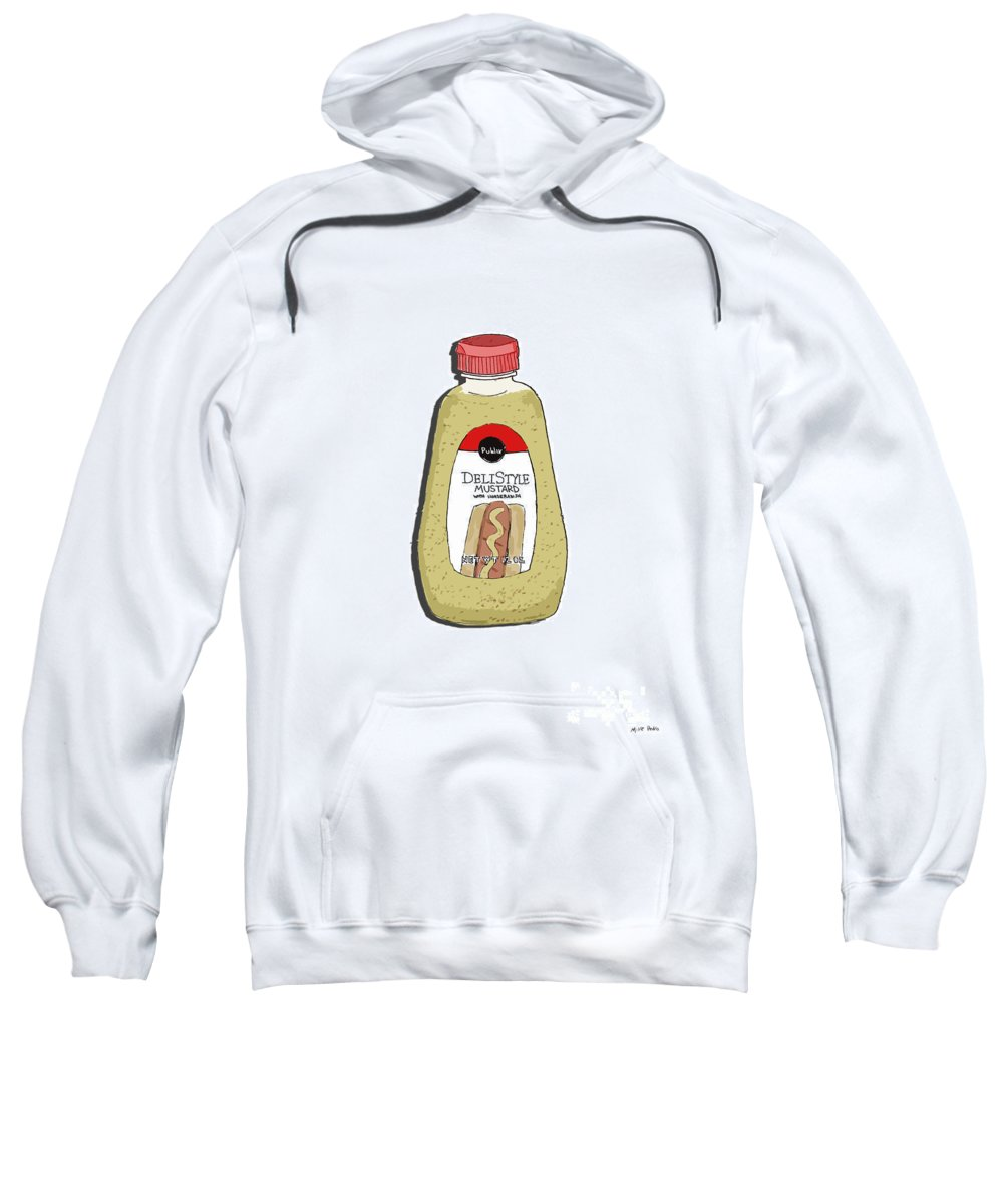 Deli Sweatshirt featuring the painting Deli Style Mustard by George Pedro