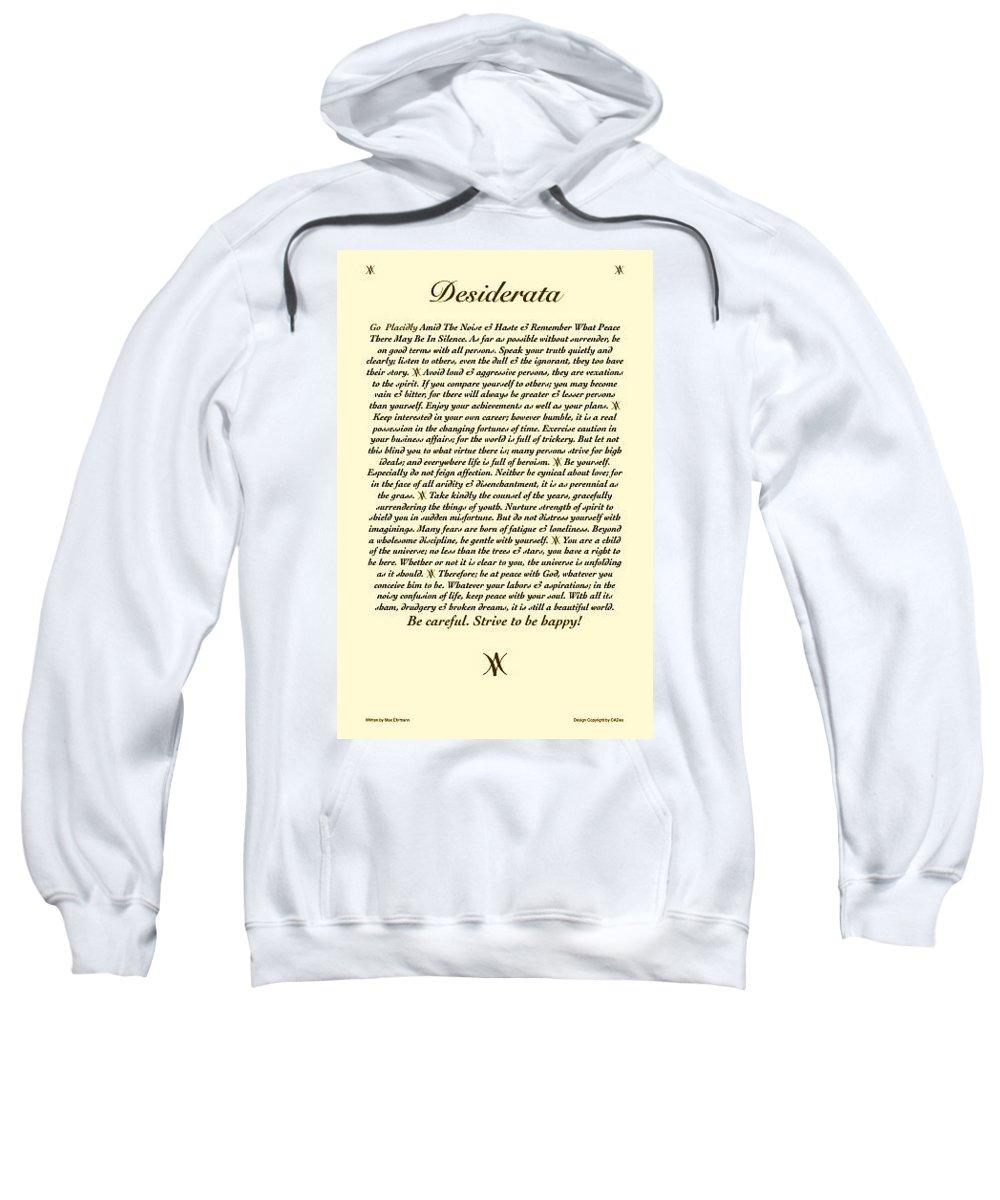 Desiderata Poem Poster Art Print Sweatshirt featuring the mixed media Desiderata Antiqued My Desi by Desiderata Gallery