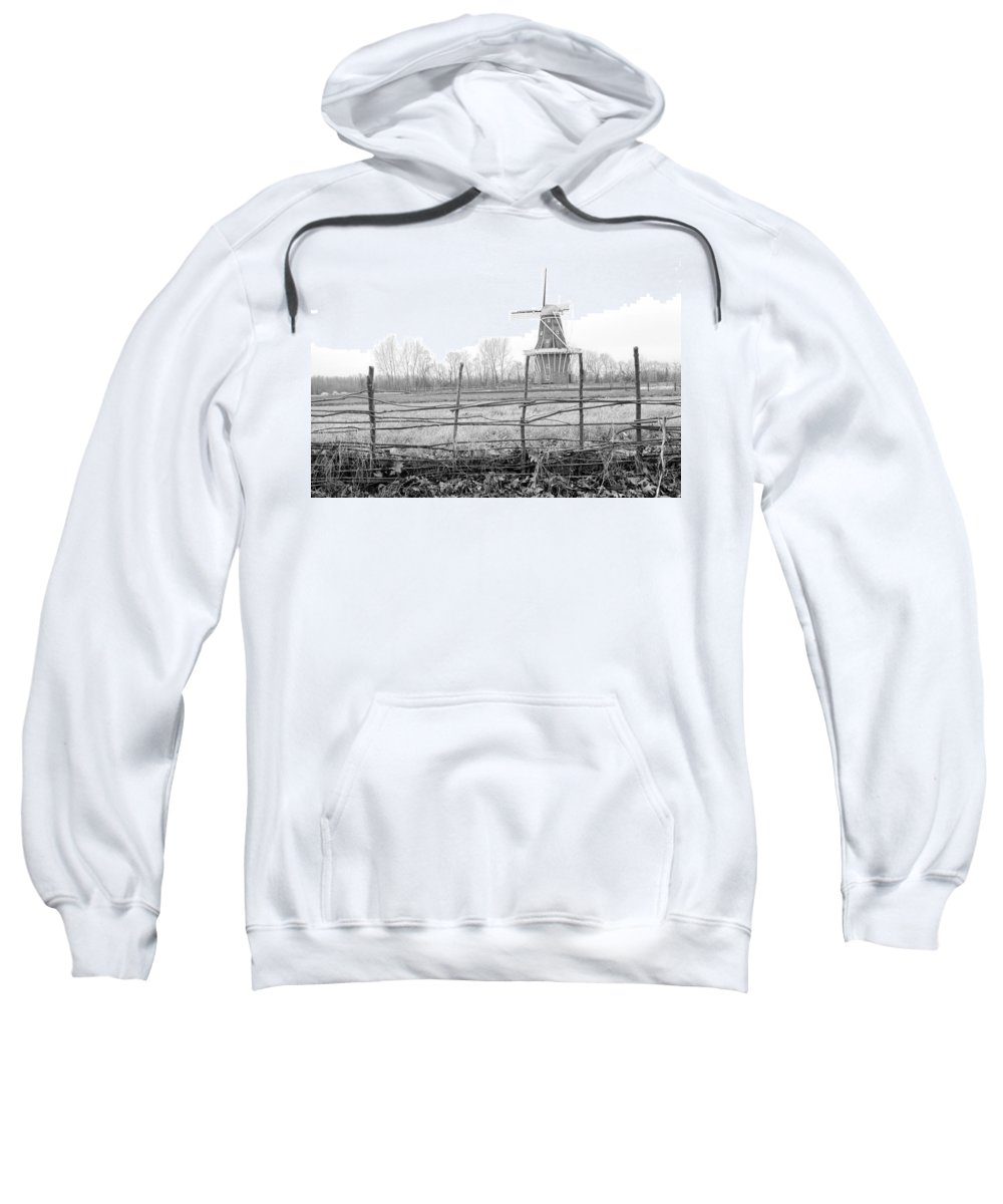 Art Sweatshirt featuring the photograph Dezwaan Windmill In Holland Michigan During November by Randall Nyhof