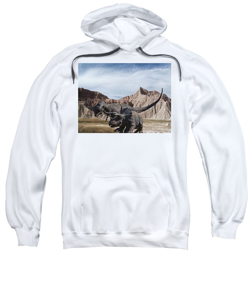 Dinosaurs Sweatshirt featuring the digital art Dino's In The Badlands by Tommy Anderson
