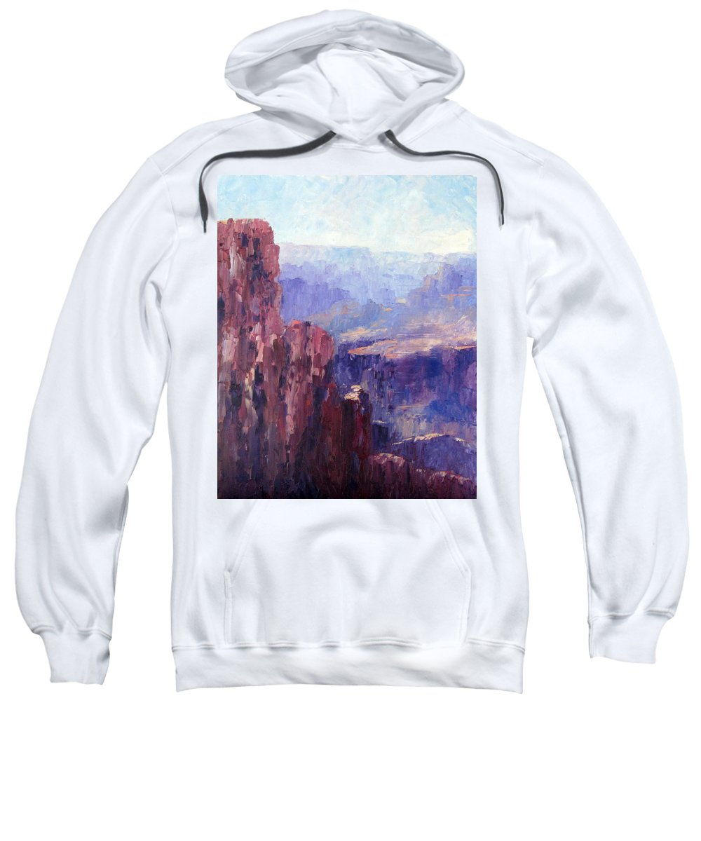 Grand Canyon Sweatshirt featuring the painting Distance by Terry Chacon