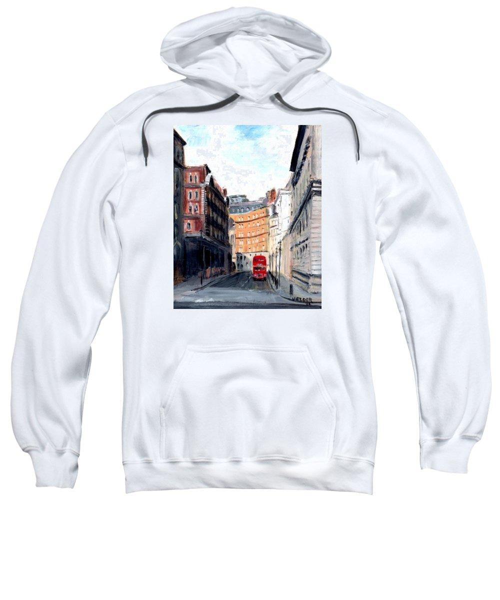 London Sweatshirt featuring the painting Double Decker by Judith Elder