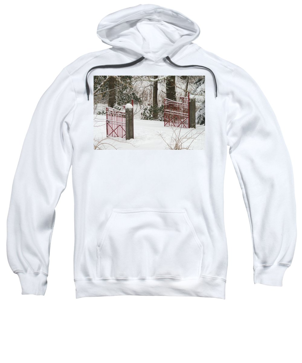 Fences Sweatshirt featuring the photograph Double Red Iron Gates by Randy Harris