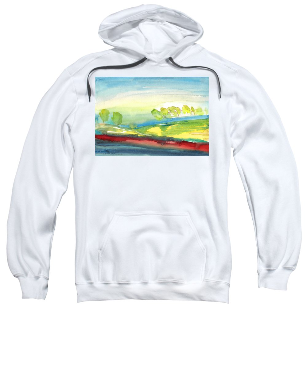 Landscapes Sweatshirt featuring the painting Early Morning 25 by Miki De Goodaboom