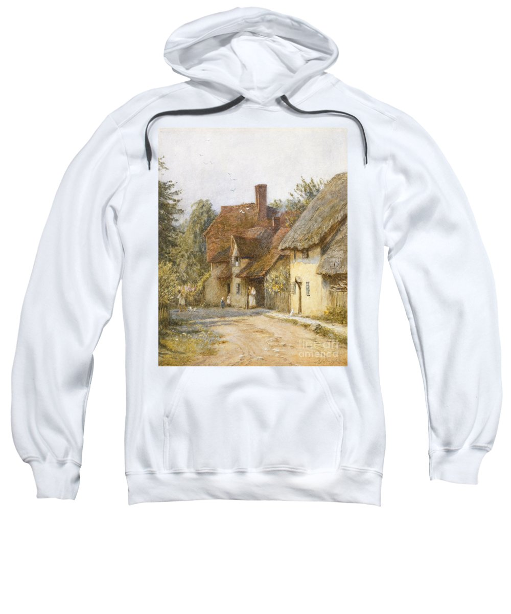 Village; Street Scene; Cottage; Cottages; English; Landscape; Rural; C19th; C20th; Victorian Sweatshirt featuring the painting East Hagbourne Berkshire by Helen Allingham