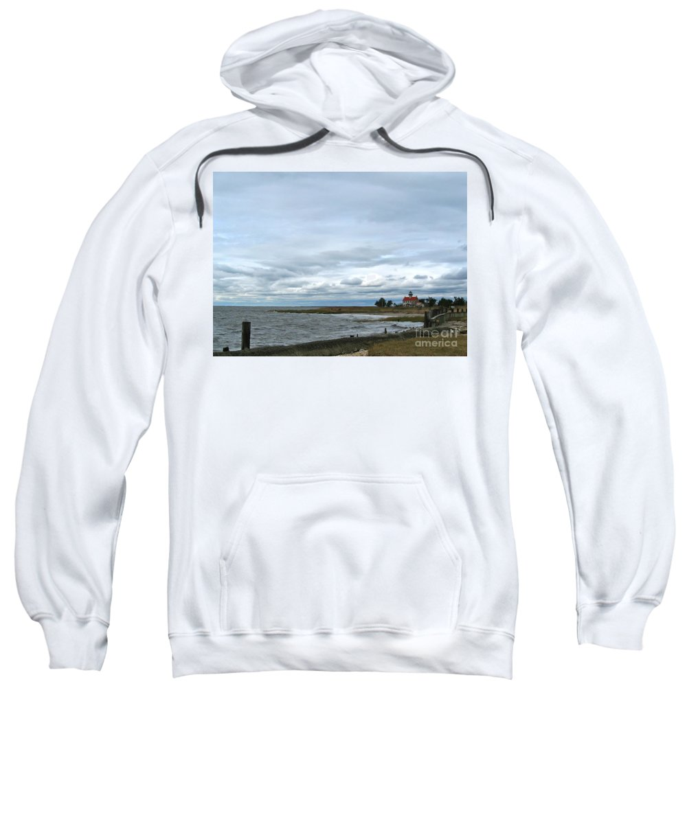 East Point Lighthouse Sweatshirt featuring the photograph East Point Light Still Shines by Nancy Patterson