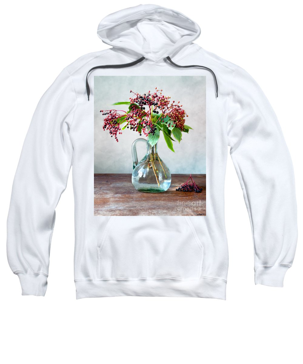 Autumn Sweatshirt featuring the photograph Elderberries 06 by Nailia Schwarz