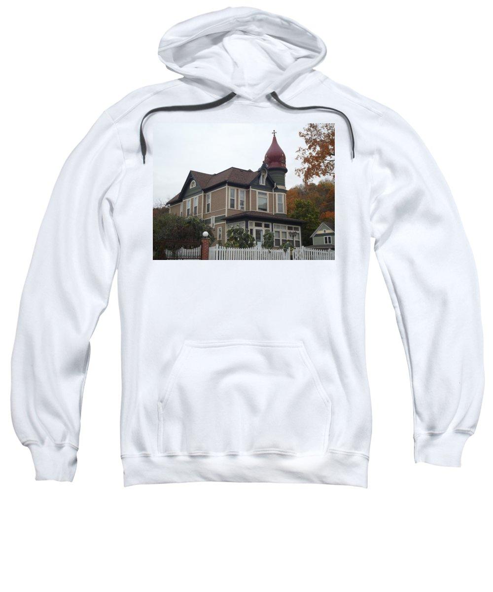 Elkader Sweatshirt featuring the photograph Elkader Castle by Bonfire Photography
