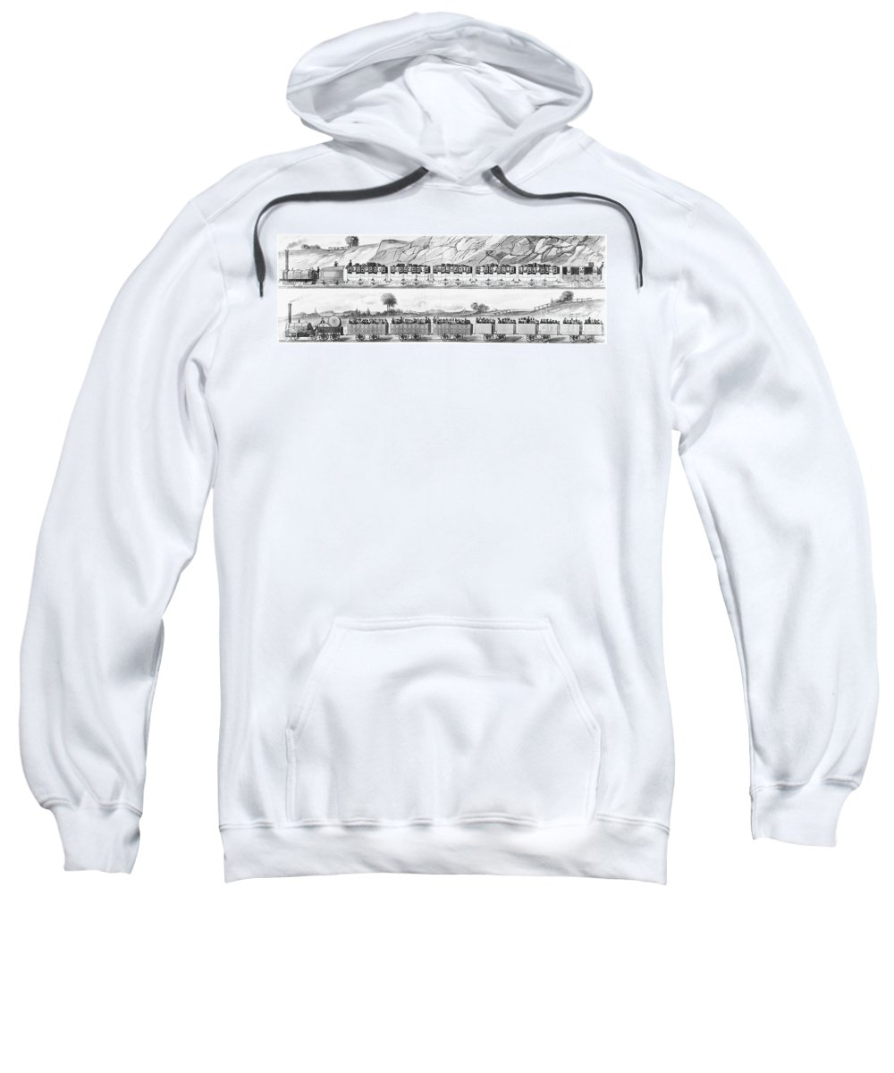 1833 Sweatshirt featuring the photograph England: Railroad Travel by Granger