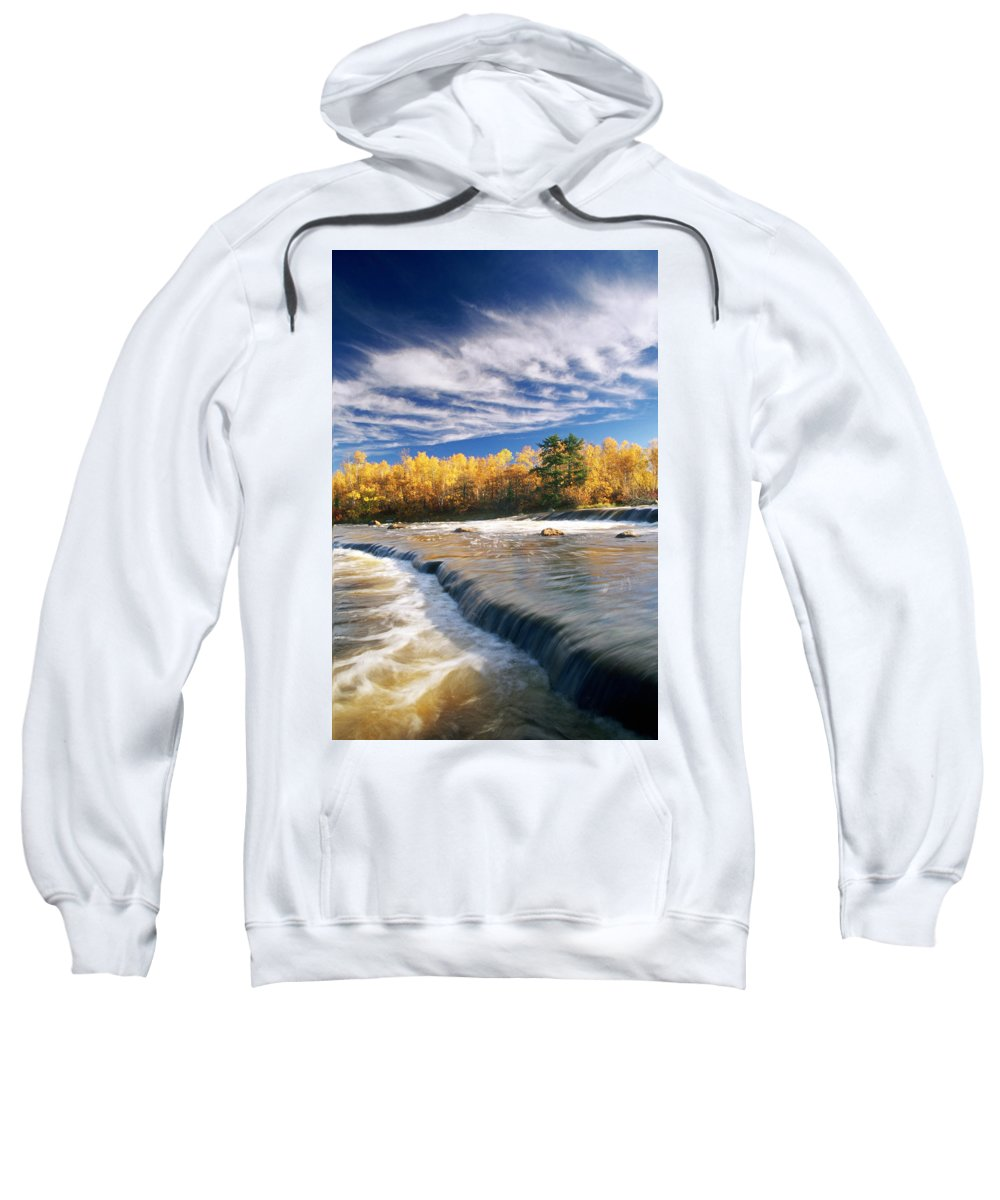 Cloud Sweatshirt featuring the photograph Fall Trees, Rainbow Falls, Whiteshell by Dave Reede