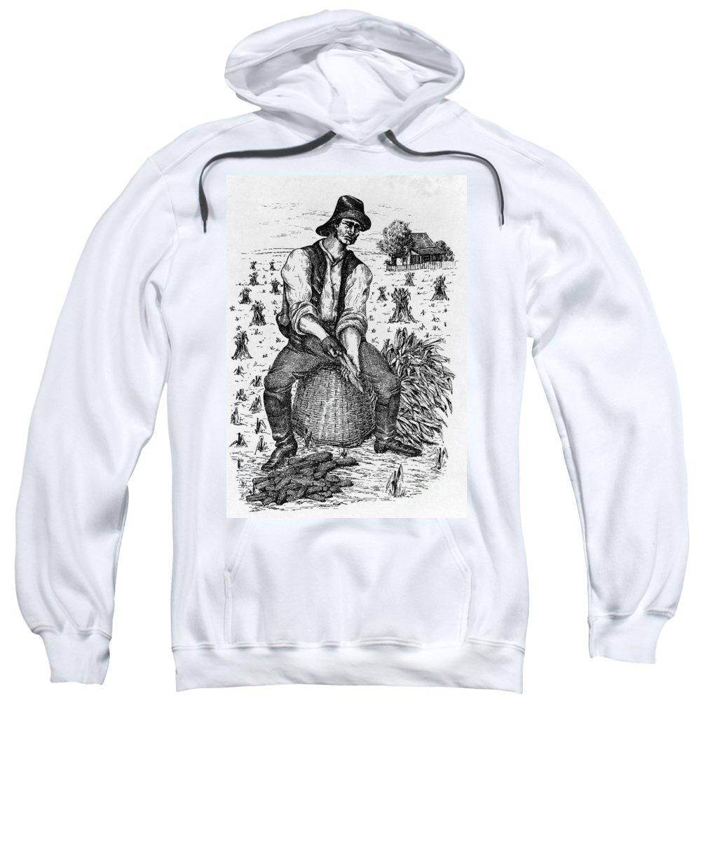 1890 Sweatshirt featuring the photograph Farming: Corn Husker by Granger