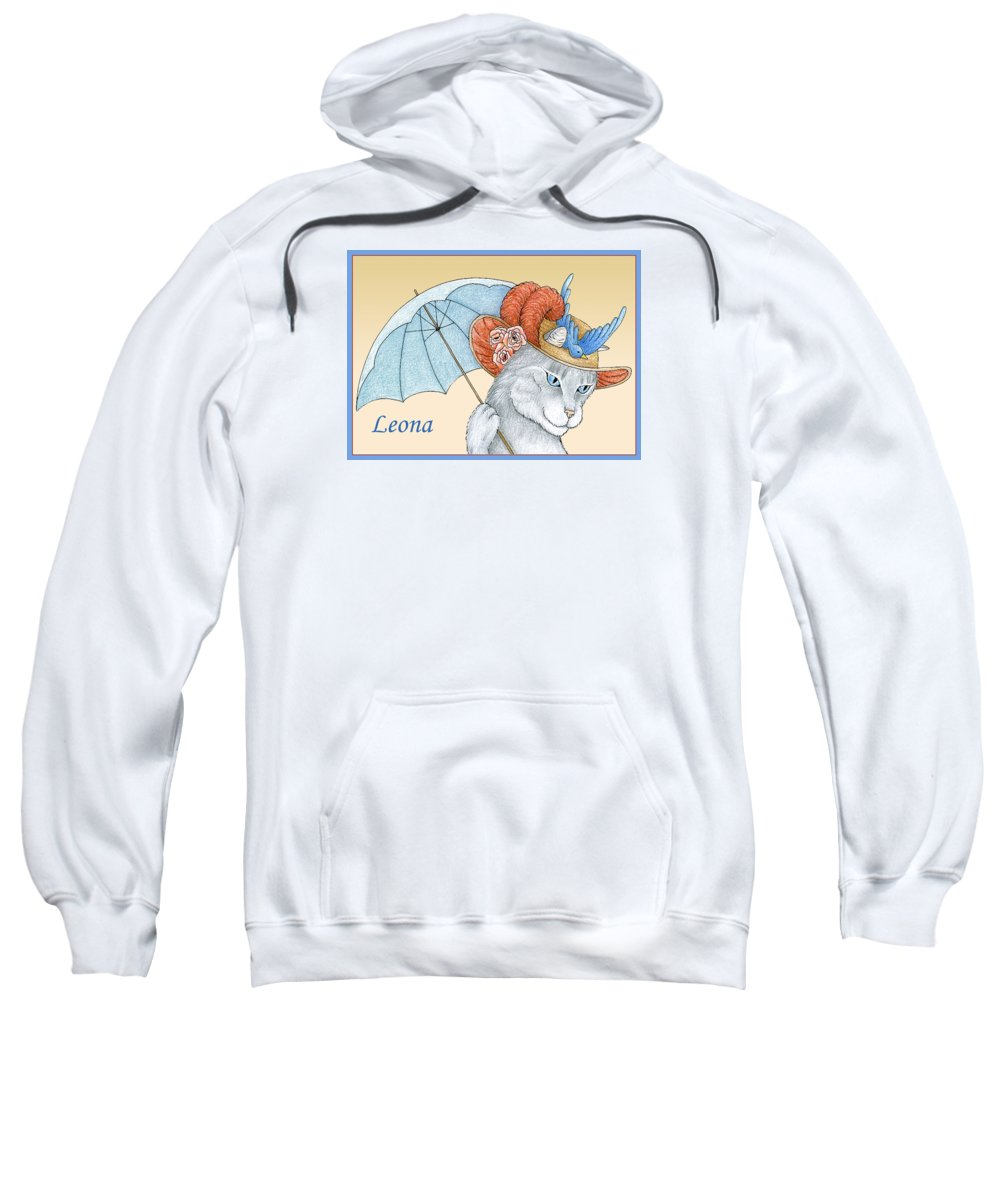 Cat Sweatshirt featuring the drawing Feline Finery - Leona by Alison Stein