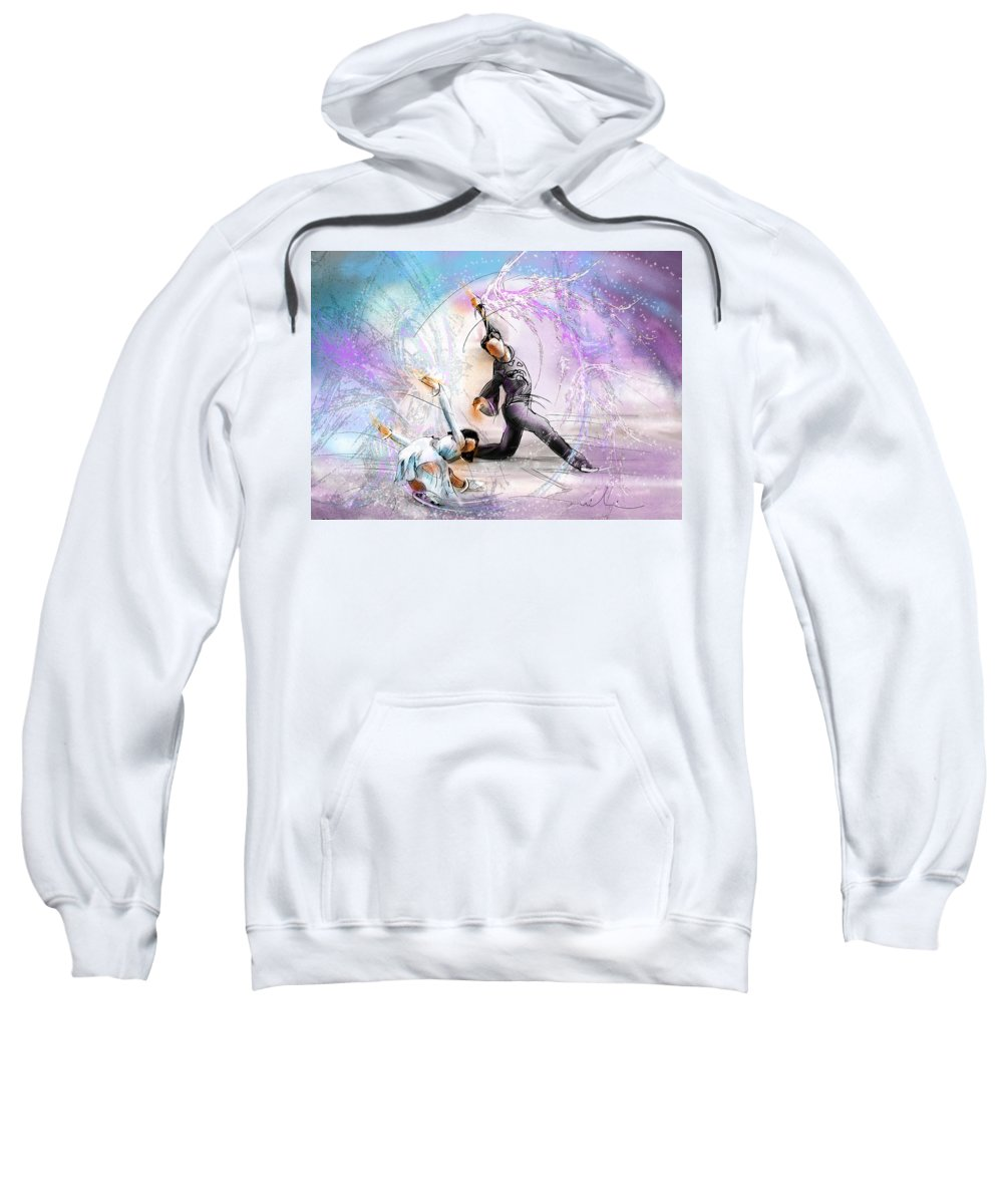Sports Sweatshirt featuring the painting Figure Skating 02 by Miki De Goodaboom
