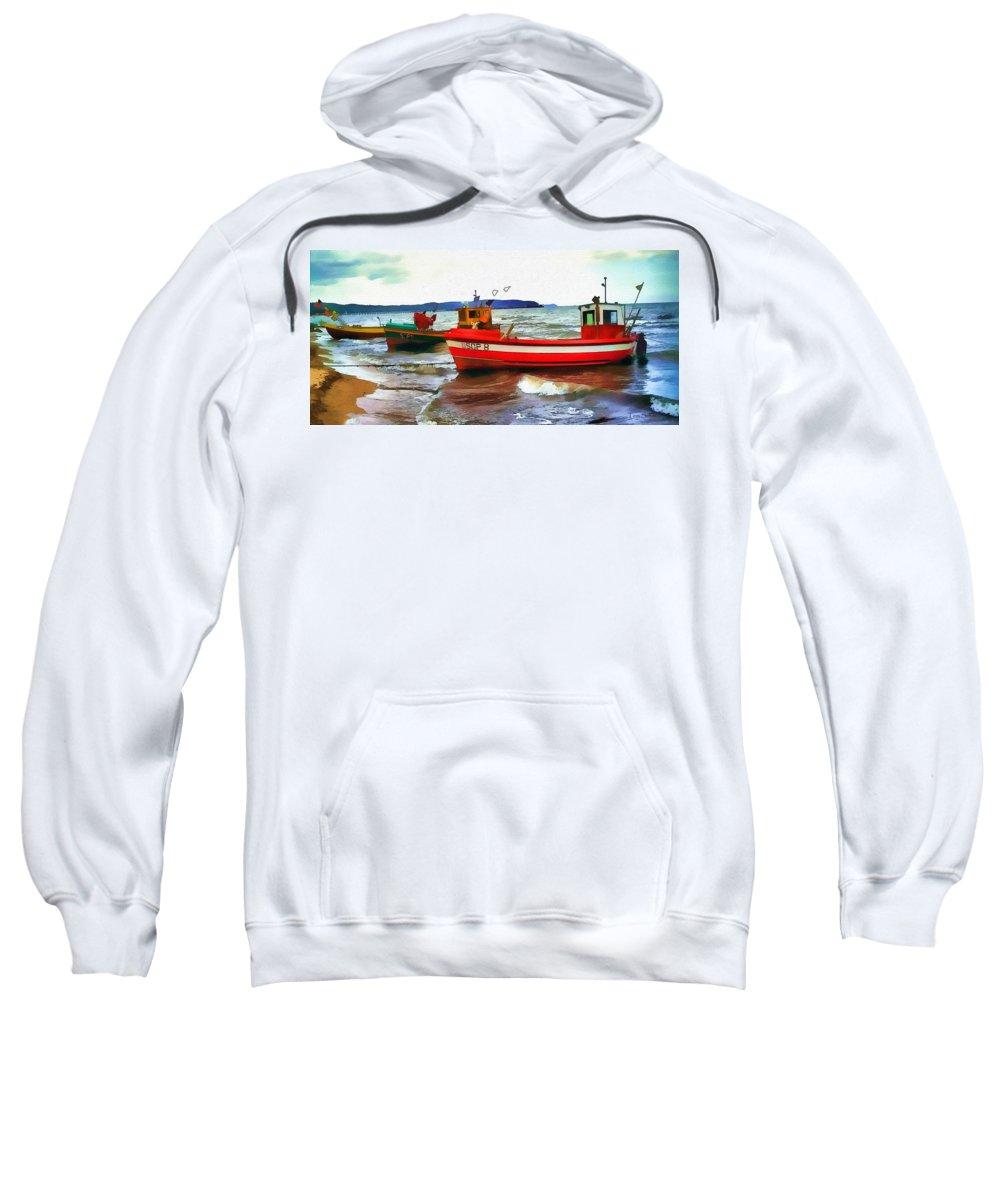 Boats Sweatshirt featuring the digital art Fishing Boats by Tom Schmidt