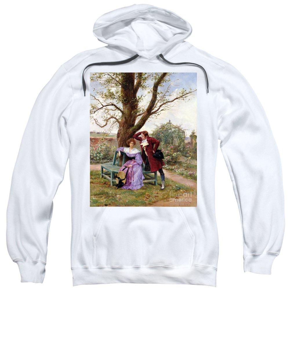 Courting; Garden Scene; Courtship; Love; Conversation; Gazebo; Victorian Sweatshirt featuring the painting Flirtation by Georges Jules Auguste Cain