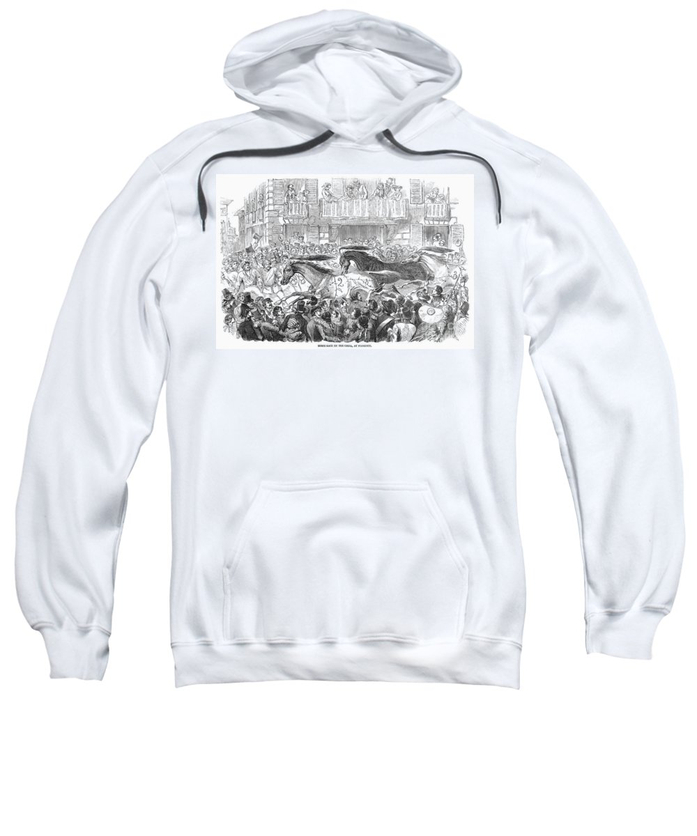 1857 Sweatshirt featuring the photograph Florence: Horse Race, 1857 by Granger