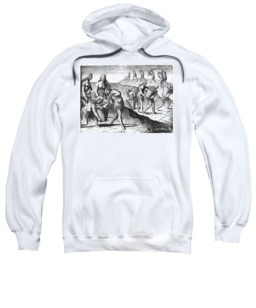 1591 Sweatshirt featuring the photograph Florida: Storing Food, 1591 by Granger
