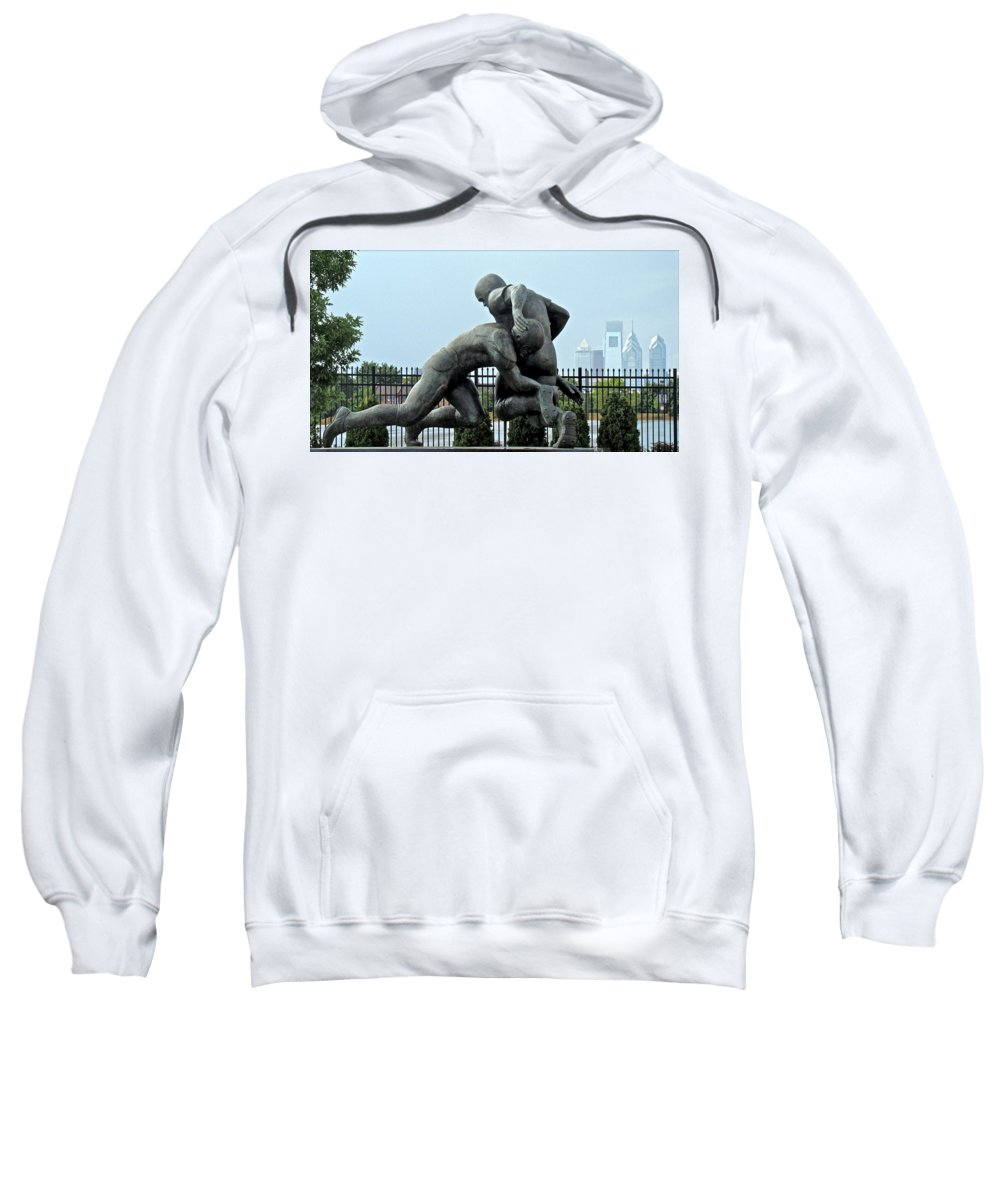 Football Statue Citizens Bank Park City View Philadelphia Sweatshirt featuring the photograph Football At Citizens Bank Park by Alice Gipson
