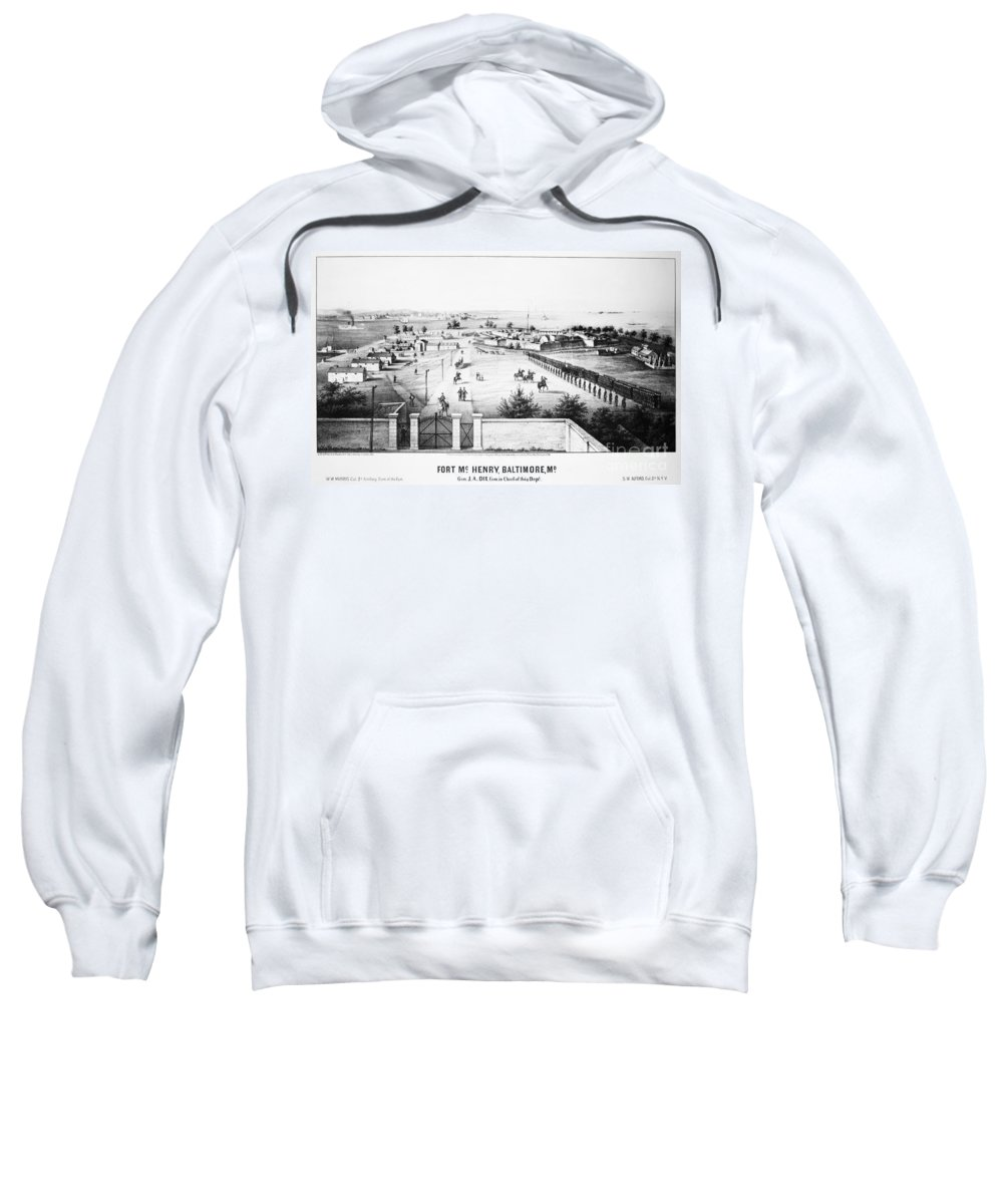 1862 Sweatshirt featuring the photograph Fort Mchenry, 1862 by Granger
