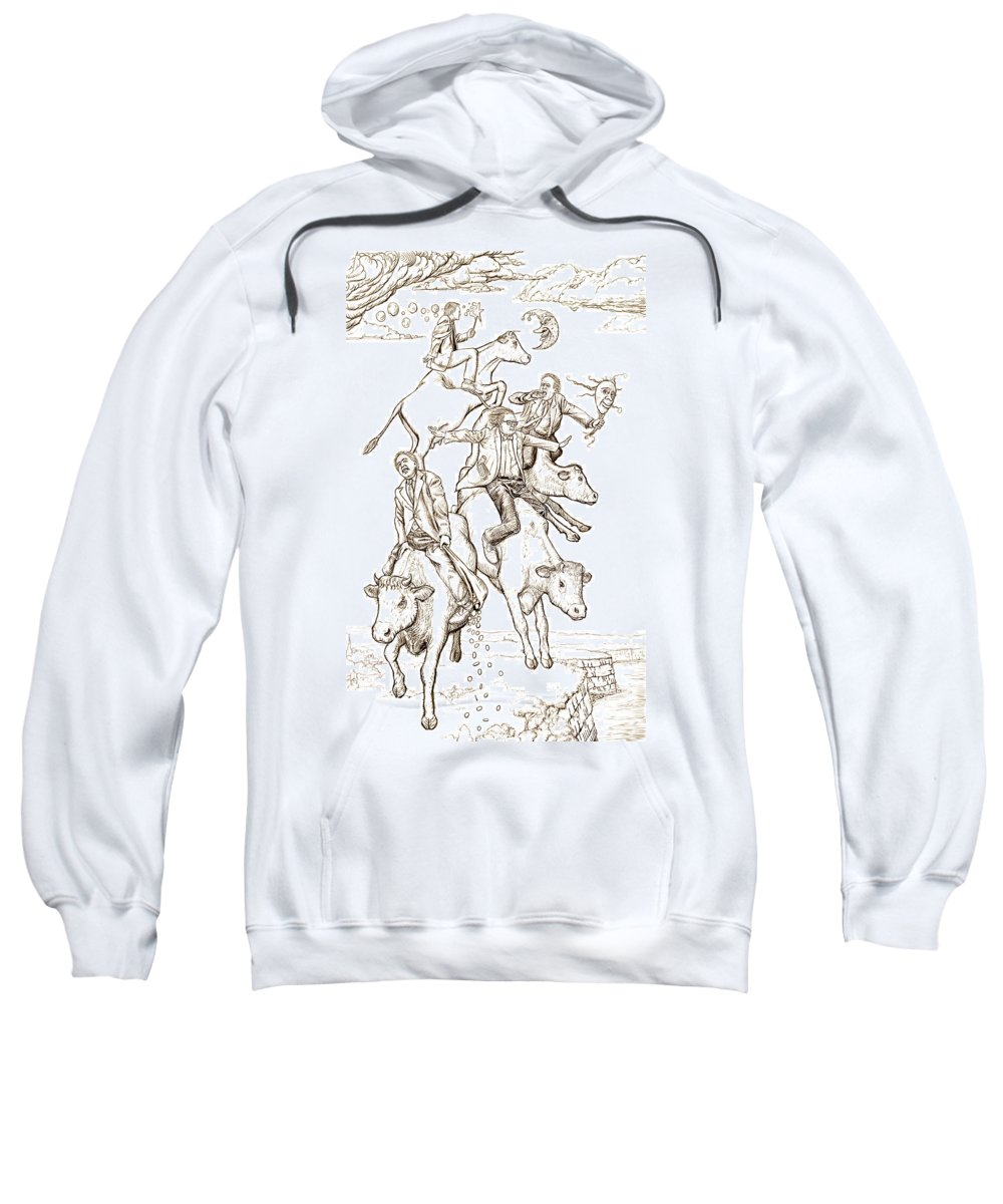 Apocalypse Sweatshirt featuring the digital art Four Mad Cowboys Of The Apocalypse by Russell Kightley