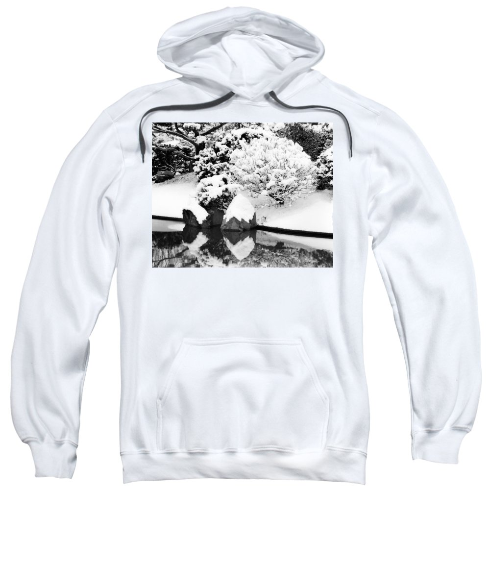 Snow Sweatshirt featuring the photograph Fresh Snow And Reflections In A Japanese Garden 1 by Greg Matchick