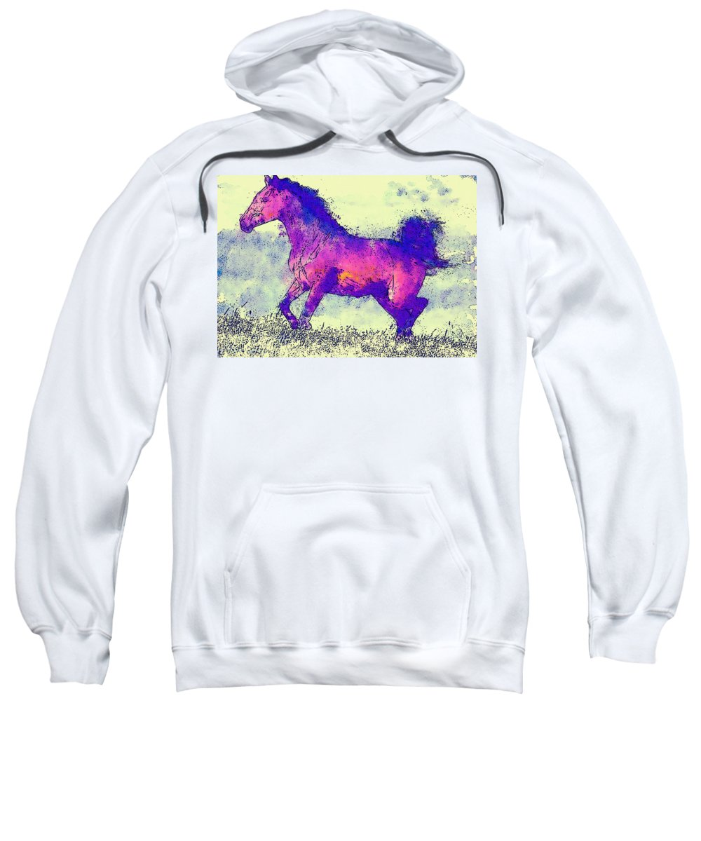 Horse Sweatshirt featuring the photograph Galloping Grace by David G Paul
