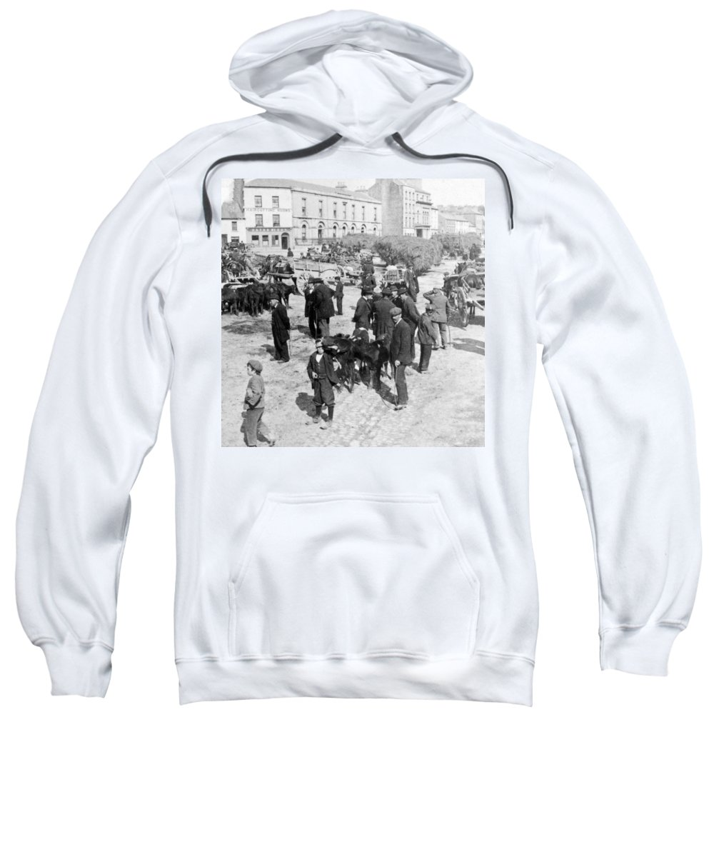 galway Ireland Sweatshirt featuring the photograph Galway Ireland - The Market At Eyre Square - C 1901 by International Images