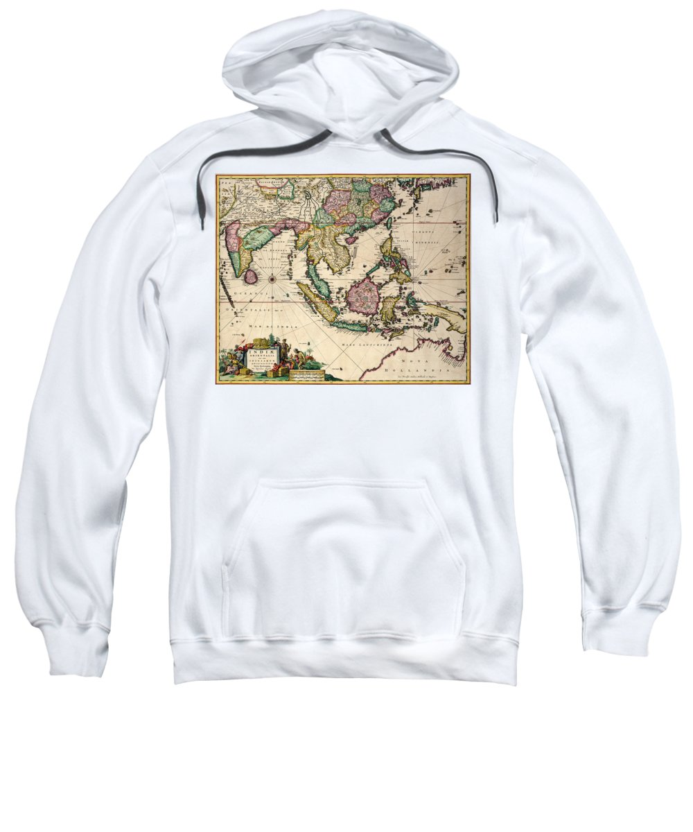 Maps Sweatshirt featuring the drawing General Map Extending From India And Ceylon To Northwestern Australia By Way Of Southern Japan by Nicolaes Visscher Claes Jansz