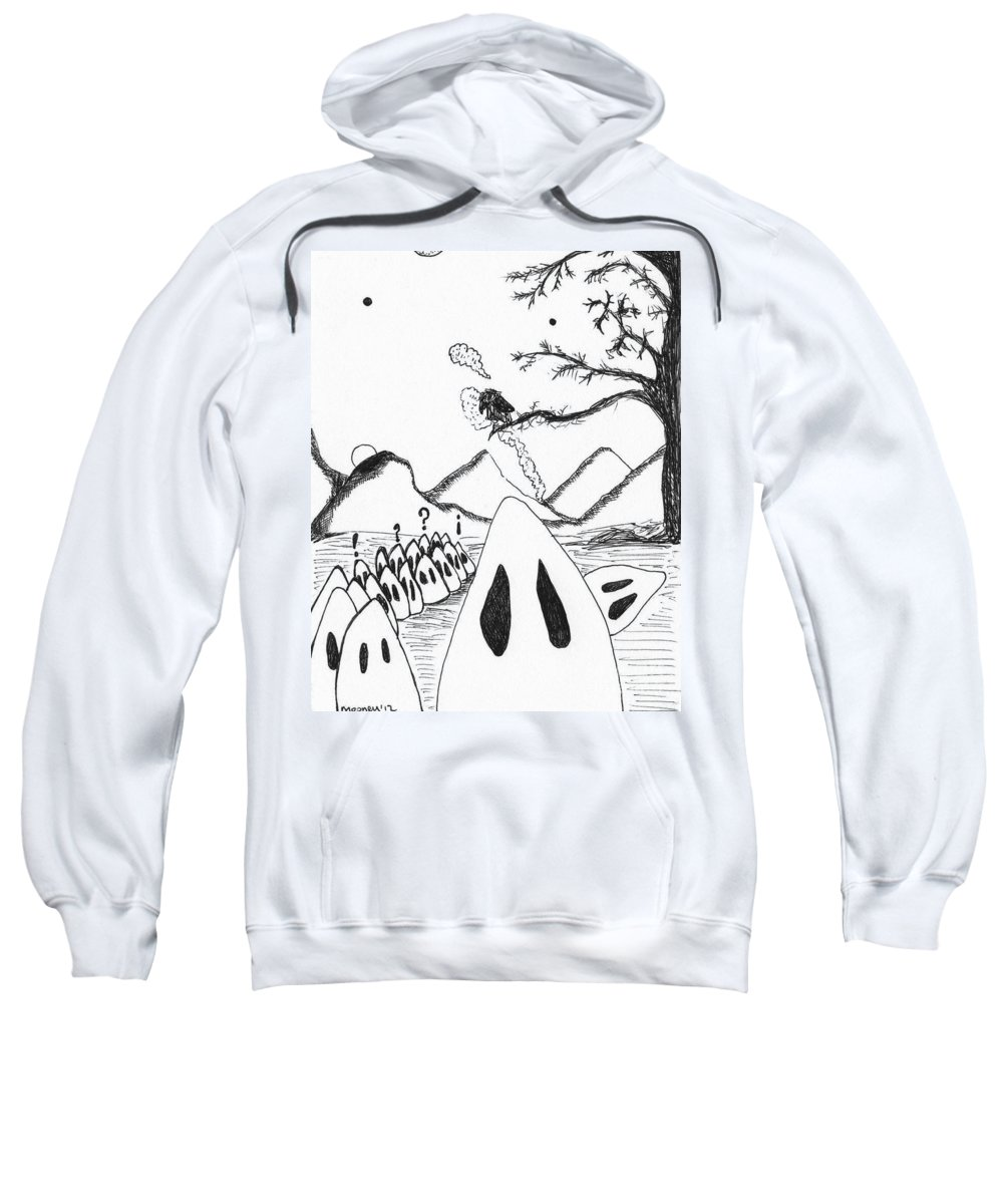 Ghost Drawings Sweatshirt featuring the drawing Ghosts 1 by Michael Mooney