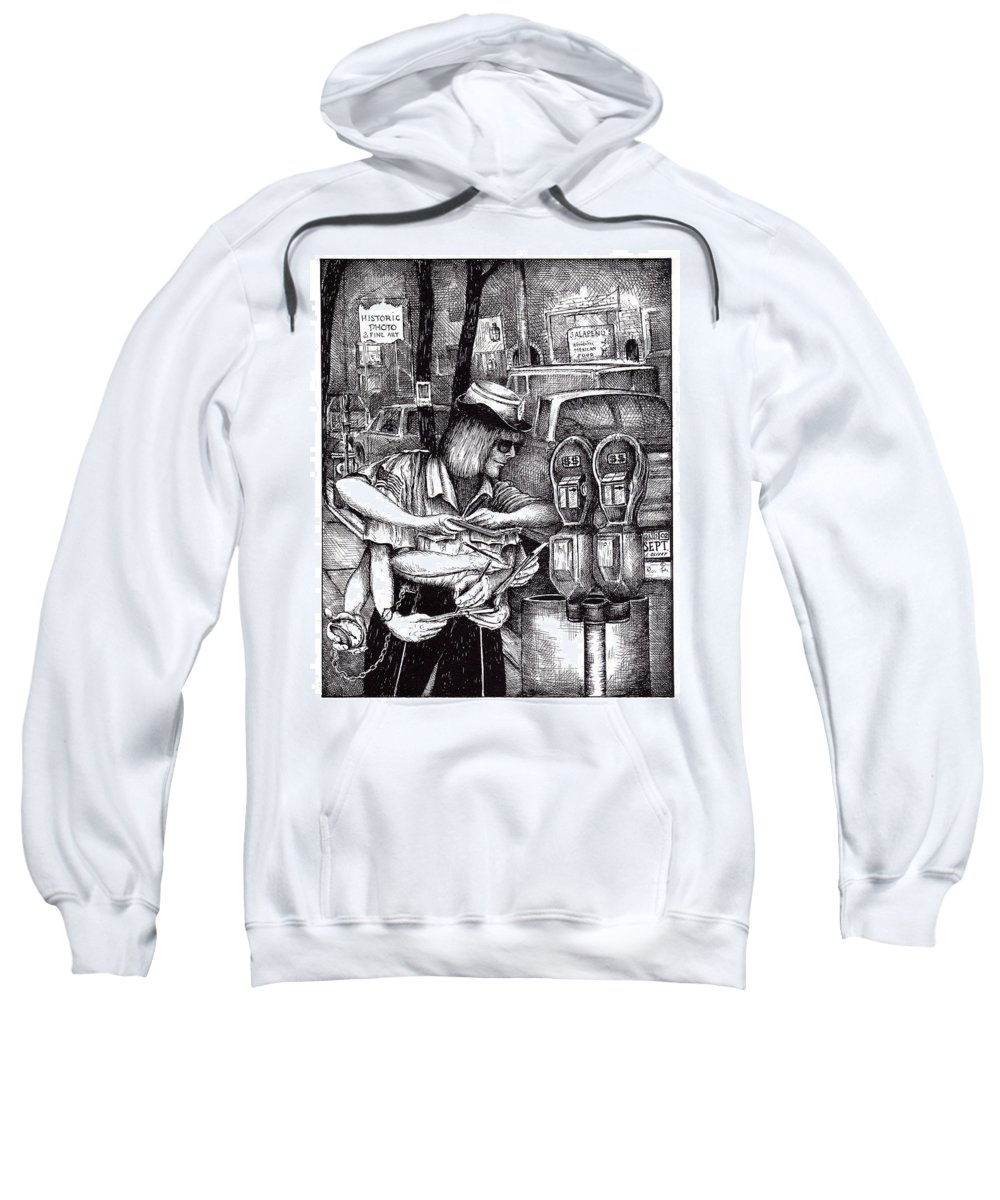 Gloucester Sweatshirt featuring the drawing Gloucester Meter Maid by James Oliver