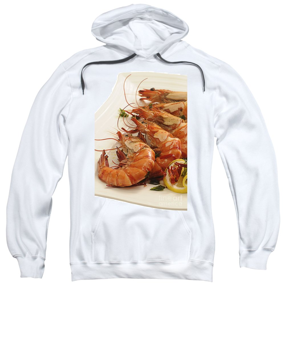 Prawns Sweatshirt featuring the photograph Grilled Prawns by Charuhas Images