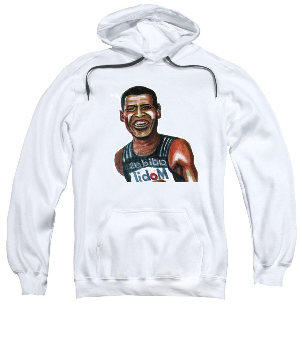 Portraits Sweatshirt featuring the painting Haile Gebreselassie by Emmanuel Baliyanga