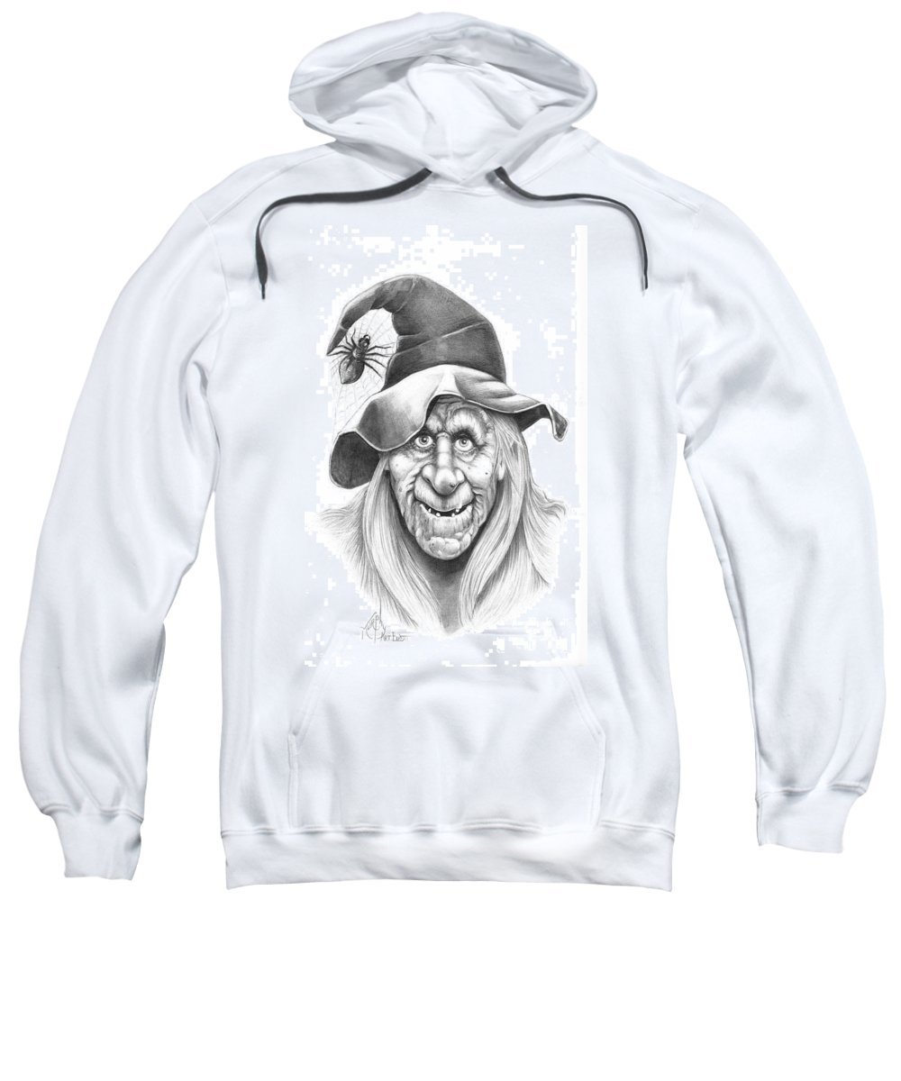 Witch Sweatshirt featuring the drawing Halloween Weeotch by Murphy Elliott