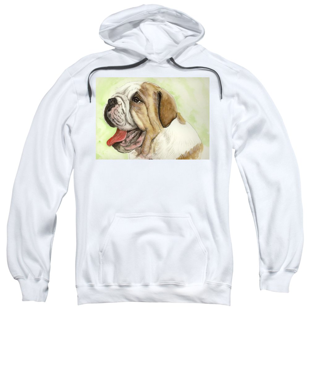 English Bulldog Sweatshirt featuring the painting Happy Bulldog by Carol Blackhurst