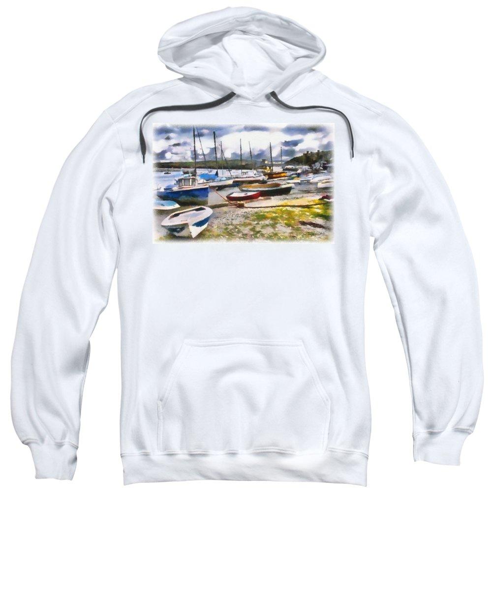 Harbor Sweatshirt featuring the digital art Harbor Boats by Tom Schmidt