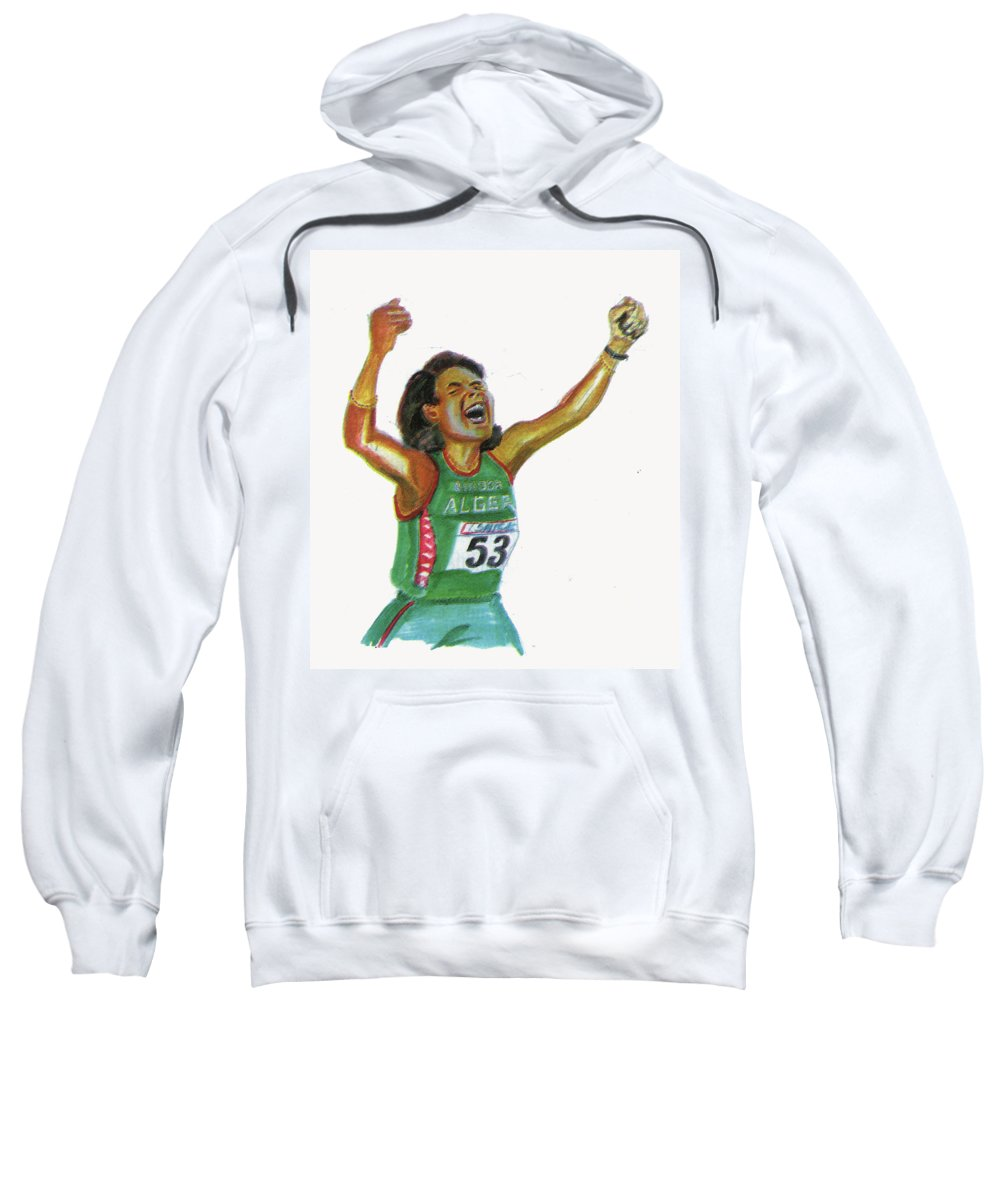 Portraits Sweatshirt featuring the painting Hassiba Boulmerka by Emmanuel Baliyanga