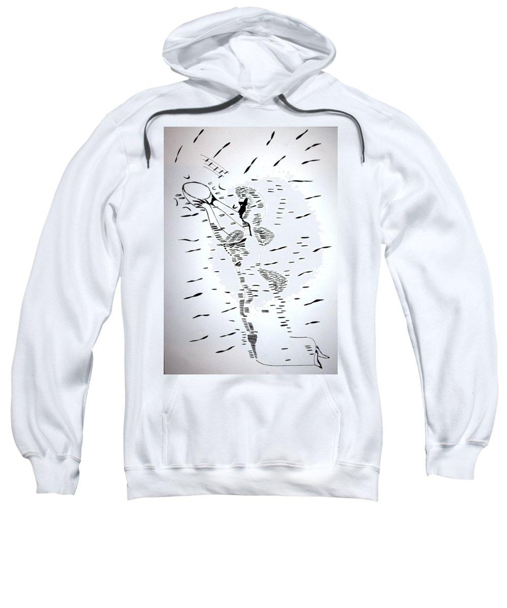 Jesus Sweatshirt featuring the drawing Hausa Dance - Nigeria by Gloria Ssali