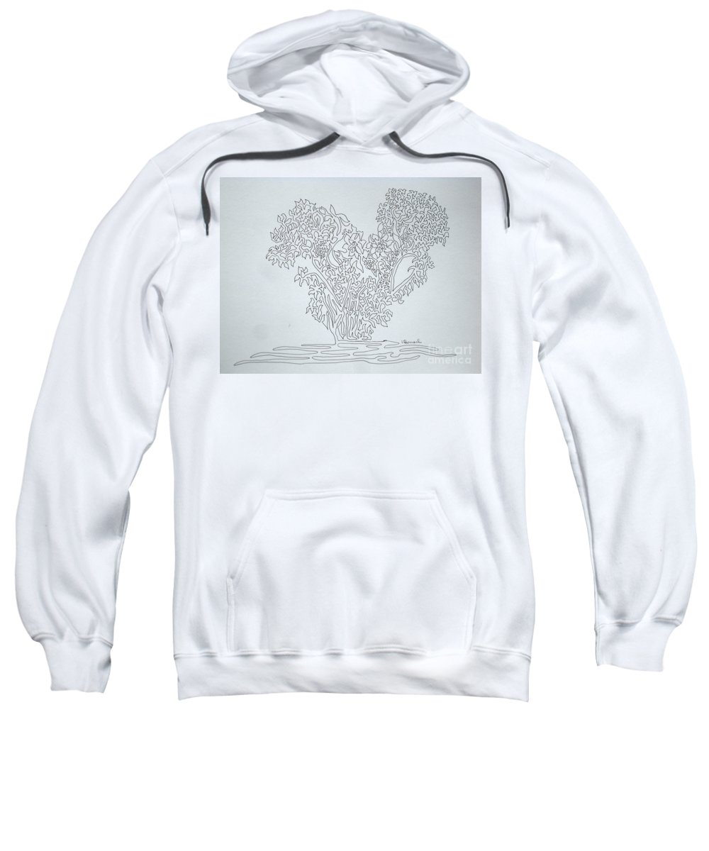 Heart Sweatshirt featuring the drawing Heart On One Line by Vicki Housel
