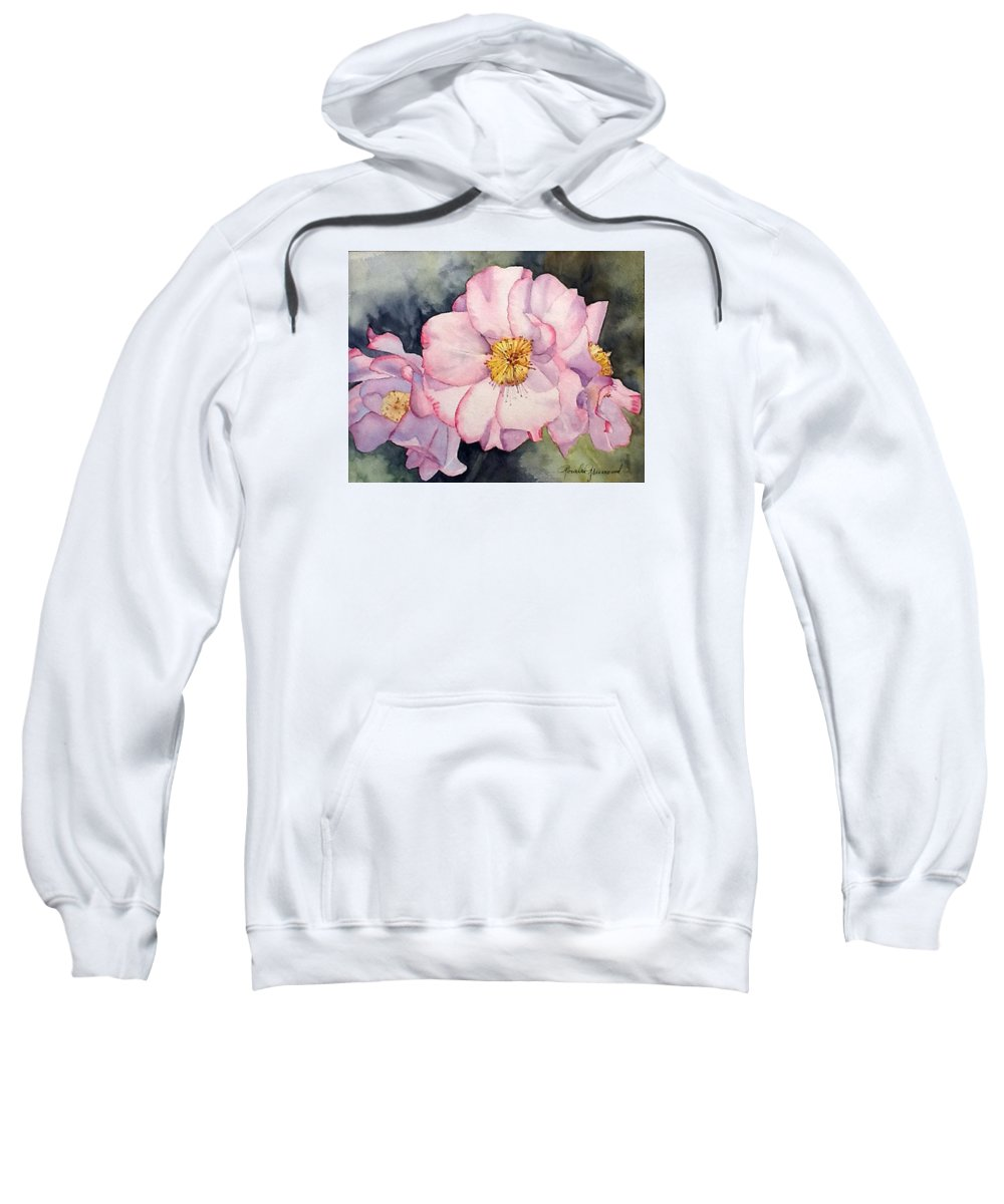 Flowers Sweatshirt featuring the painting Heirloom Bloosoms by Rosalea Greenwood