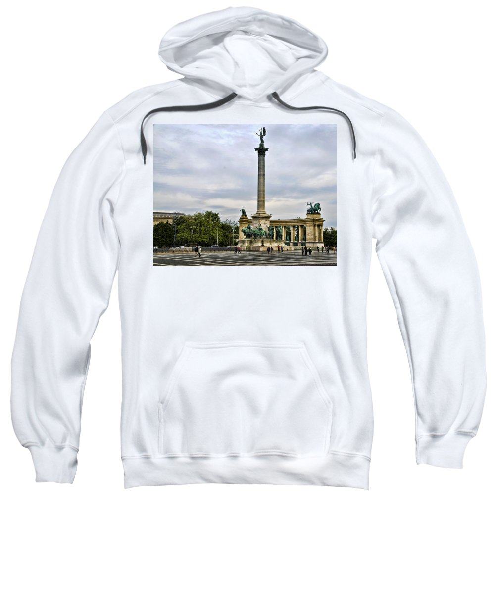 Heros Square Sweatshirt featuring the photograph Heros Square - Budapest by Jon Berghoff