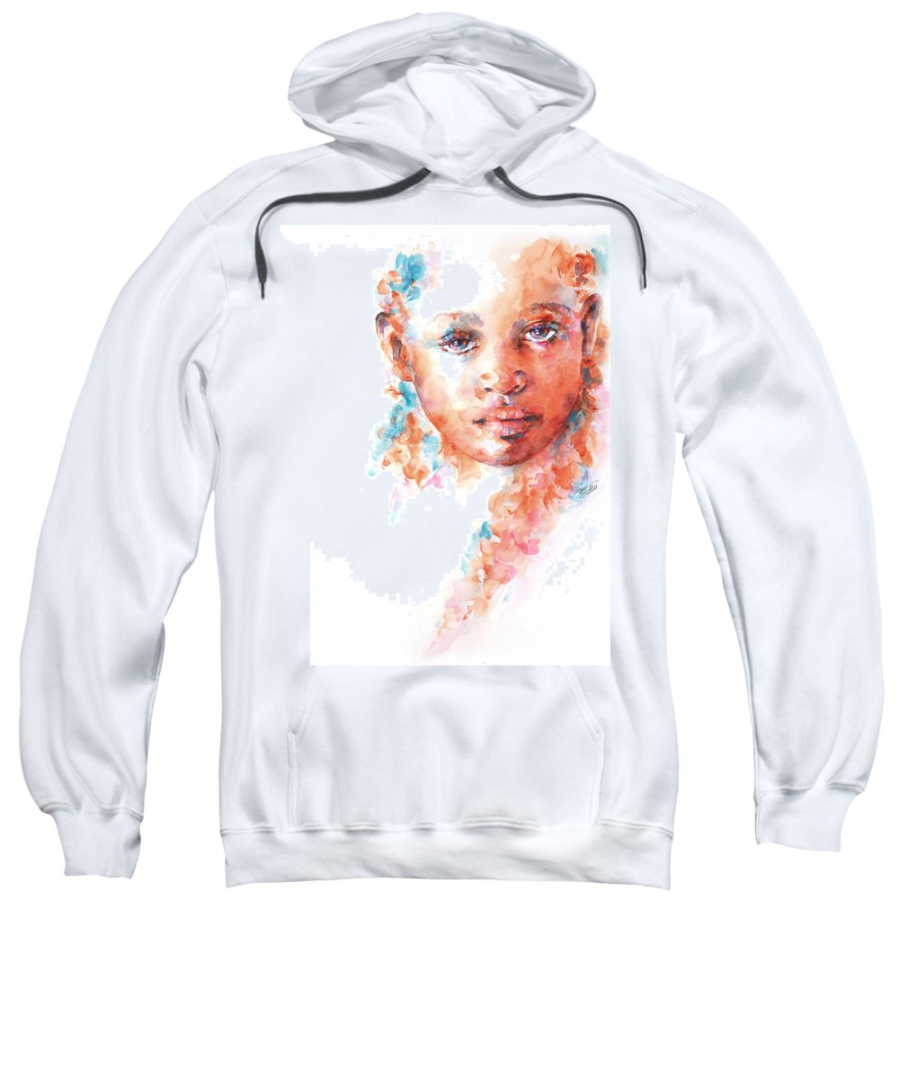 A Portrait Of An African Child Painted In Watercolour As Part Of The Collection Of children Of The World. Sweatshirt featuring the painting Hidden Tears by Stephie Butler