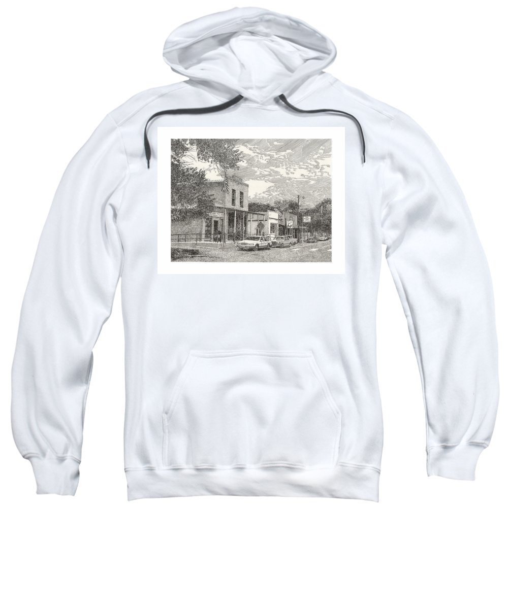 Hillsboro Nm Post Office Framed Prints And Note Cards Of Ink Drawings Of Scenic Southern New Mexico. Framed Canvas Prints Of Pen And Ink Images Of Southern New Mexico. Black And White Art Of Southern New Mexico Sweatshirt featuring the drawing Hillsboro Nm Post Office by Jack Pumphrey